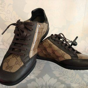 GUCCI Dark Brown Leather & Monogram Canvas Sneaker